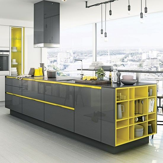 Grey and yellow is a popular colour combination. Try small doses in the accessories or try the element of surprise inside cupboards or for shelving systems. http://www.housetohome.co.uk/room-idea/picture/gloss-kitchen-ideas-10-ideas/2