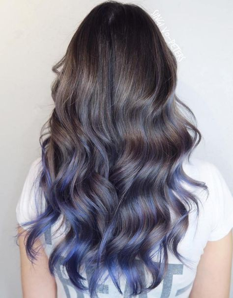 Pastel Blue Balayage For Brown Hair