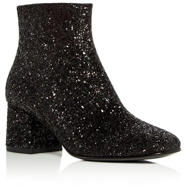 Ash Women's Electra Glitter Block Heel Booties ($198) ❤ liked on Polyvore featuring shoes, boots, ankle booties, black, glitter boots, block heel booties, glitter ankle booties, glitter booties and ash boots