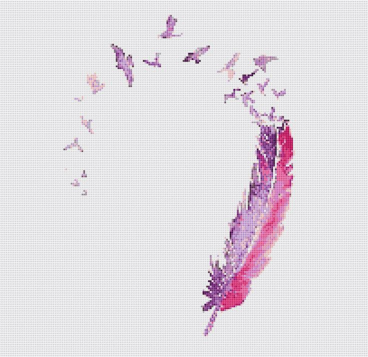 Pink Feather Digital Cross Stitch Pattern by AbundantCreativity