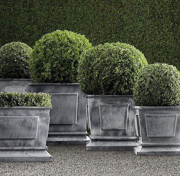 Zinc Garden Planters on zinc planter boackround on white, zinc furniture, zinc bowls, zinc window boxes, zinc garden statues,