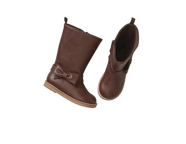 Baby Gap Girls Tall Side Zip Bow Boots Brown Faux Leather Toddler Size 9 NWT  #Gap #Boots