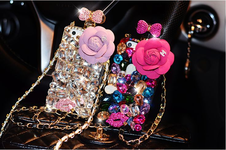 Camellia Bowknot Perfume Bottle Design Colorful Rhinestone Big Diamond Case Cover Super Bling Gorgeous Shell Case For iPhone 4s 5/5s 6 plus