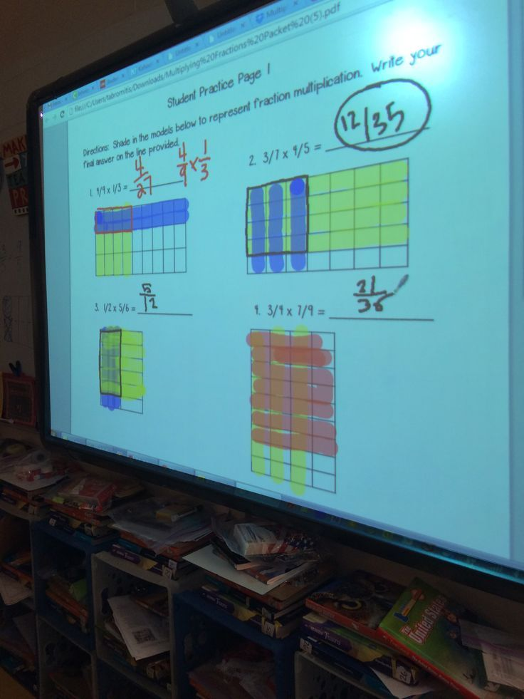 This resource teaches students who to multiply fractions using visual models. You can display the document on a smart board and have students use color tools to show the overlap of colors to give an answer.