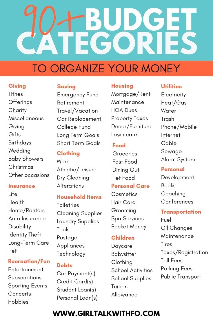 90 Budget Categories To Organize Your Money Budget Categories Budgeting Budgeting Finances