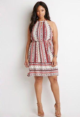 Forever 21 Plus Women's Plus Size Floral Stripe Print Dress