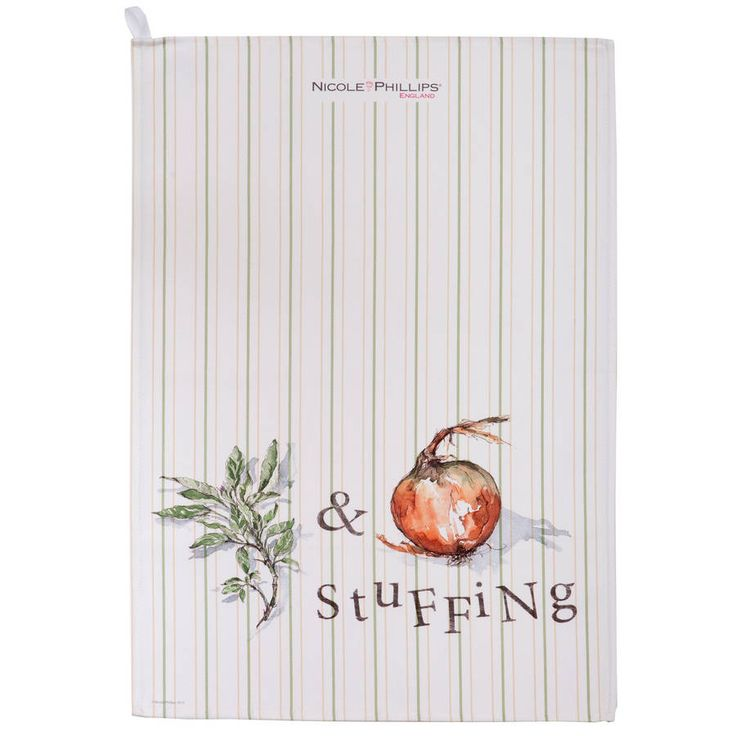 sage and onion stuffing tea towel by nicole phillips england | notonthehighstreet.com