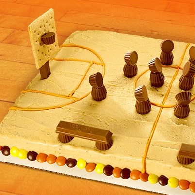 Basketball court cake. Visit http://www.reesesbakingbracket.com/ to find delicious game day snacks and vote for your favorite recipe.