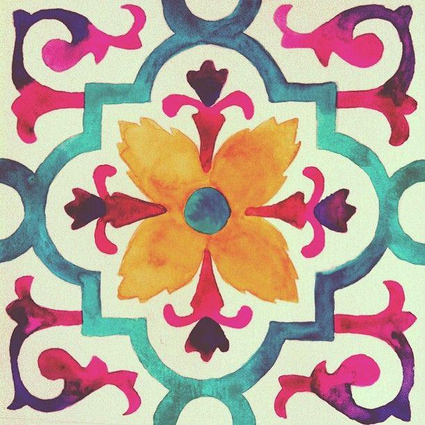 azulejo hidráulico,aquarela