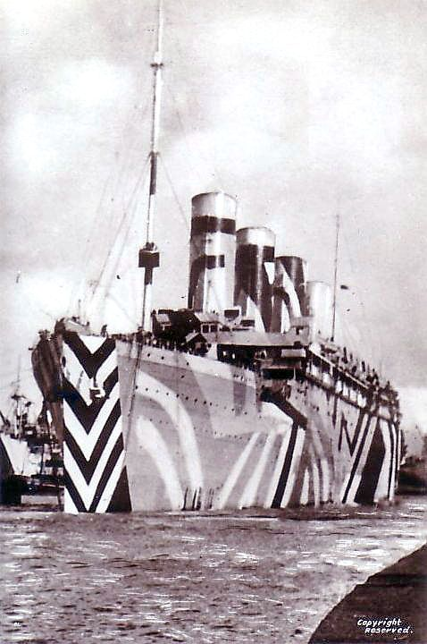 RMS Olympic (sister ship of the RMS Titanic) in dazzle camouflage while in service as a troopship during the Great War.