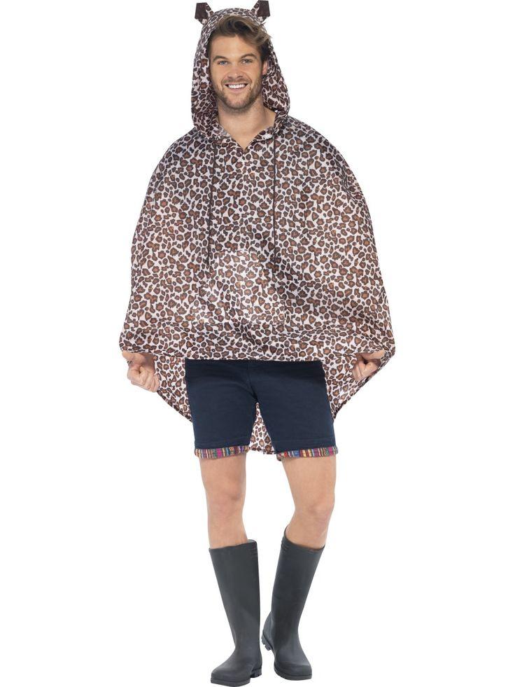Sadeponcho; leopardi. Standardikokoinen, hupullinen asu sopii sekä miehille että naisille.