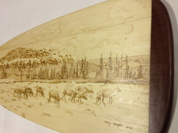 decortive paddle titled spring elk gazing in by burningrivershop