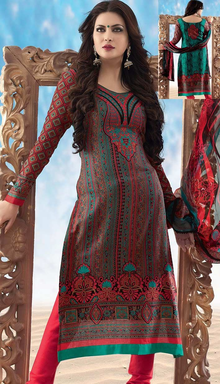 Get Latest Bollywood Latest Red Cotton #ChuridarKameez Online   #Price INR- 2740 Link-  http://alturl.com/htaf8