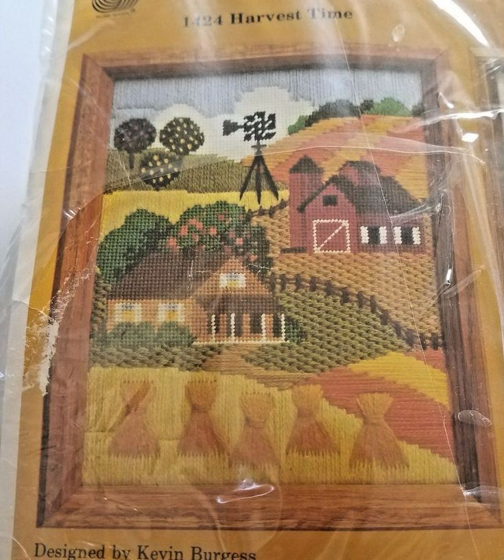 Creative Circle Embroidery Kit 1424 Harvest Time Autumn Farm Scene Vtg 1982 USA #CreativeCircle