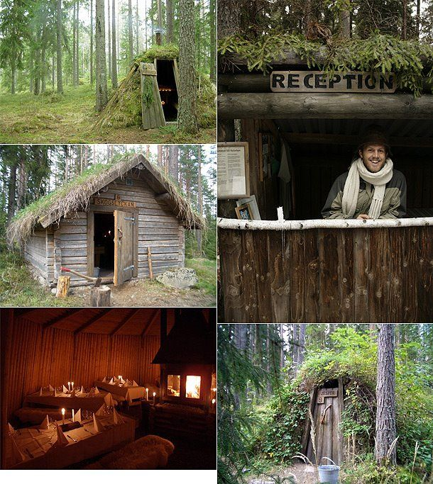 Sweden's most primitive hotel offers twelve little forest huts devoid of electricity and running water for a close to nature experience. at Kolarbyn Eco-lodge, Sweden.