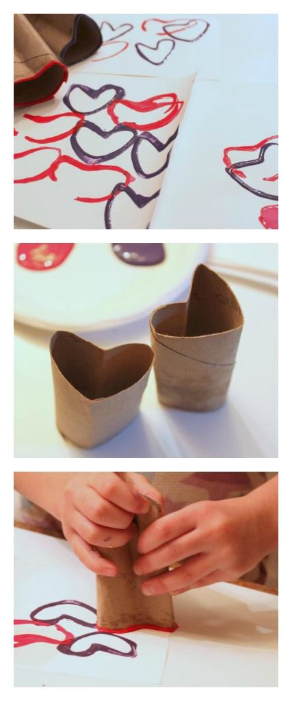 Recycled Crafts - Bend toilet paper rolls into a heart shape and use as a stamp. Make Valentine's Day cards, wrapping paper, decorate plain boxes or boxes wrapped in newspaper...tons of possibilities! Great kid-friendly craft.