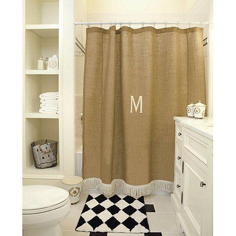 Burlap Shower Curtain with Bullion Fringe - I would not monogram it.  Really like that fringe at the bottom of the curtain.