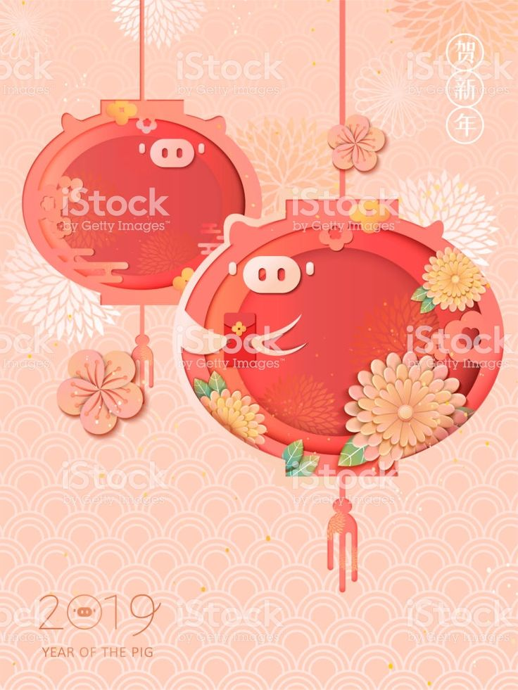 Happy Chinese new year poster with lovely piggy lantern