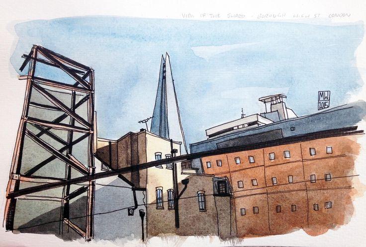 View of The Shard from Borough High Street, London- original artwork by Matt Waruszynski