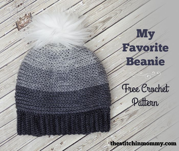 My Favorite Beanie is a simple hat pattern that has been jazzed up with a gorgeous fur pom pom and ombre color scheme. Get the free pattern here.
