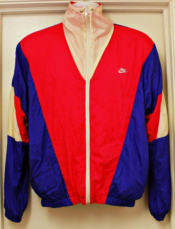 80's Vintage NIKE 3-Color Windbreaker Jacket Sz: Medium