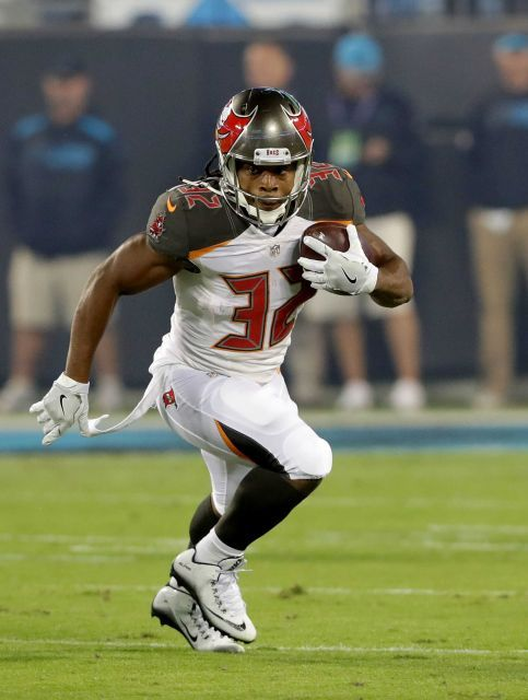 Monday Night Football: Buccaneers vs. Panthers:     October 10, 2016, 17-14, Buccaneers  -       Jacquizz Rodgers of the Tampa Bay Buccaneers runs the ball against the Carolina Panthers in the first quarter during their game at Bank of America Stadium on Oct. 10, 2016 in Charlotte, N.C.