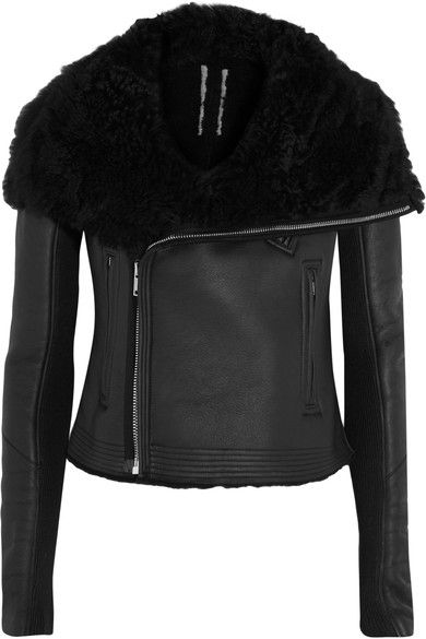 Black shearling Asymmetric zip fastening through front Fabric1: 100% shearling (Lamb); trim1: 100% leather (Calf); trim2: 100% wool; pocket lining: 100% cotton; sleeve lining: 100% cupro; padding: 100% polyester Dry clean