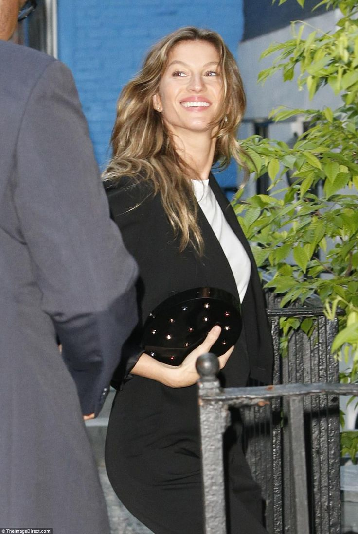 Gisele was seen with her Patriots husband on her way into a dinner party at the home of Vogue Editor Anna Wintour on the eve of her annual Met Gala