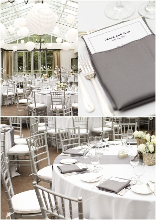 Silver chivari, ivory linen, grey napkins, pink rose, white and pink hydrangea/rose centerpieces!