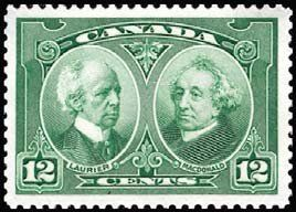 Stamp: Sir Wilfrid Laurier and Sir J. A. Macdonald (Canada) (60th Anniversary of Confederation) Mi:CA 125,Sn:CA 147,Yt:CA 127,Sg:CA 272
