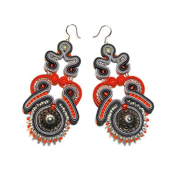 Soutache earrings silver gray orange jewelry handmade shop