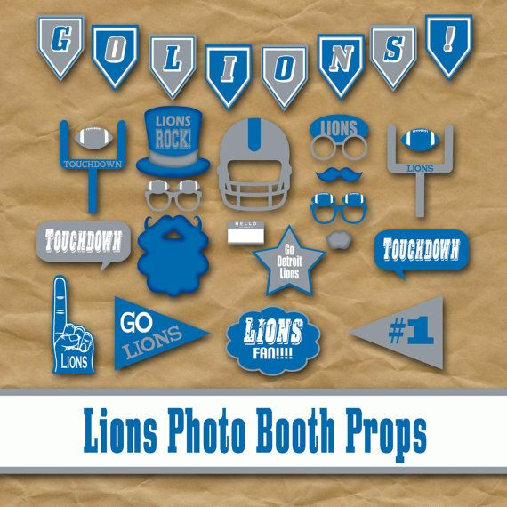 Detroit Lions Photo Booth Props and Party Decorations    PLEASE NOTE: This is a digital product, NO physical product will be sent.    For Shop