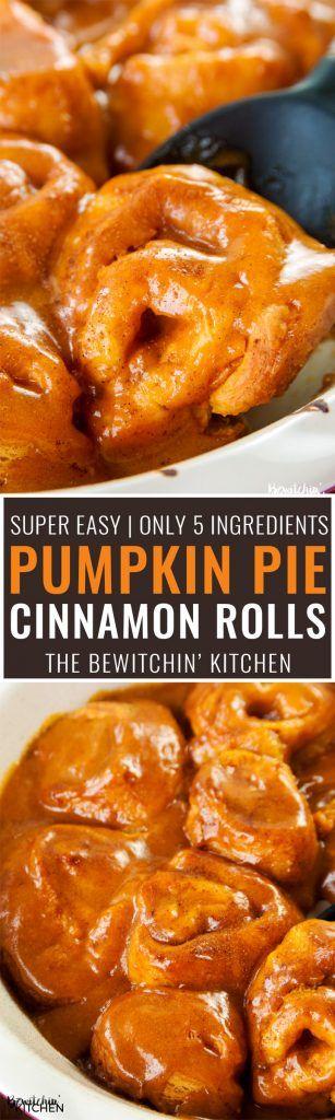 Pumpkin Pie Cinnamon Rolls - this twist on a classic cinnamon bun recipe is the perfect dessert for fall! I love pumpkin spice desserts.