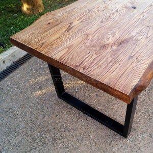 Impero: tavolo legno massello di castagno con taglio tronco e gambe in ferro