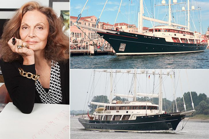 Diane von Fürstenberg – Eos, Estimated $100 Million; Fashion designer Diane von Fürstenberg and her husband movie and media billionaire Barry Diller own the three-masted Bermuda rigged schooner with accommodation for 16 guests and 21 crew members. The yacht features exterior design by Bill Langanand interior design by Francois Catroux. The famous Eos hosted many stylish parties for Hollywood & Fashion's biggest names.