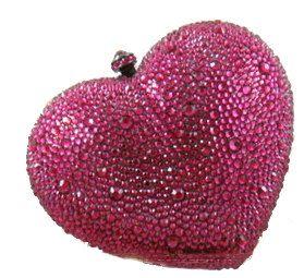 En forme de coeur Swarovski Elements Ruby Rose cas strass cristal métal sac boîte d'embrayage