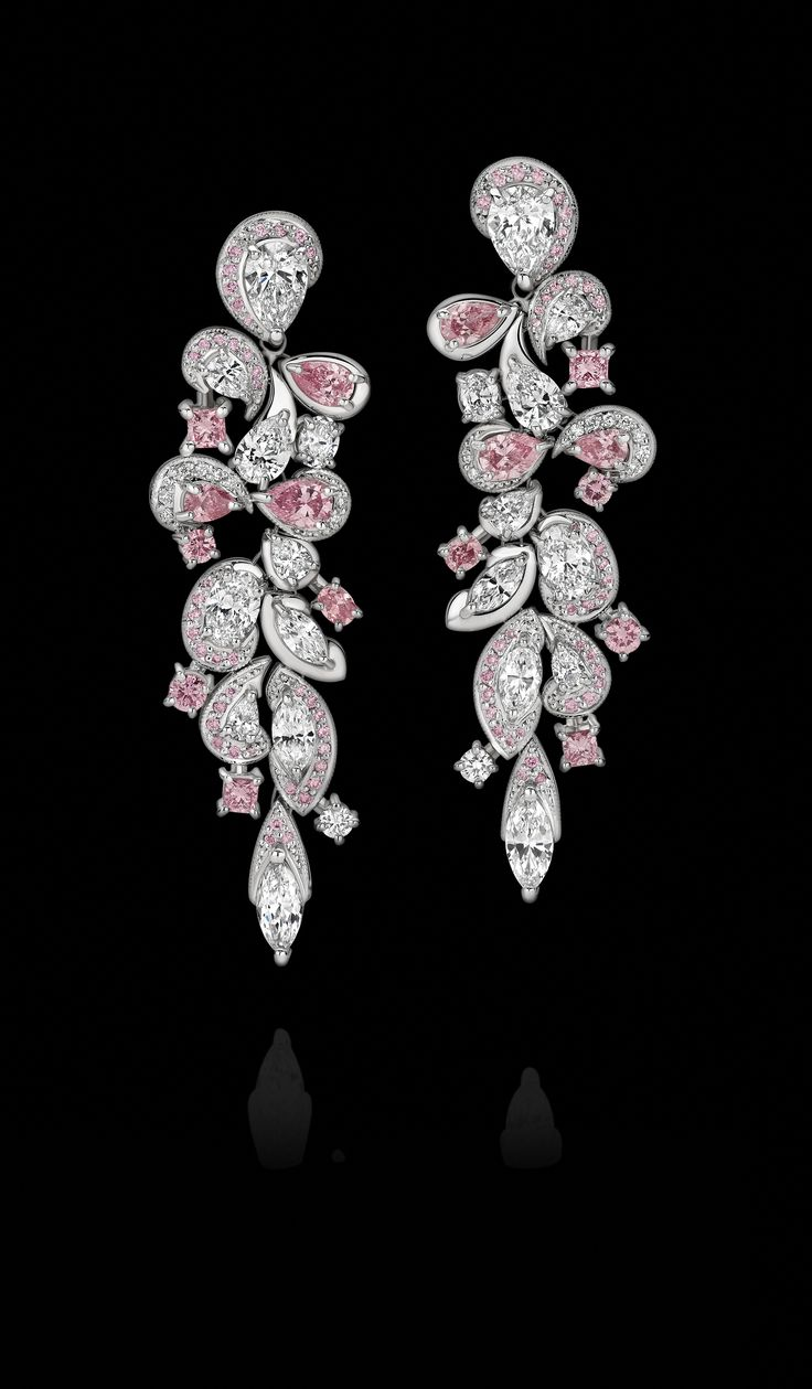'Cascades' - the most stunning arrangement of White and Argyle Pink Diamonds effortlessly cascading from White Diamond drops in a scintillating display of enchanting beauty.  www.calleija.com/argyle-pink-diamond-collection-earrings-bracelets/~g2377