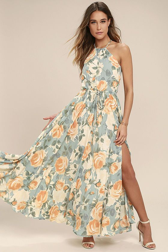 2017 SPRING & SUMMER FASHION TRENDS! Lulu's - Cherish every special occasion spent in the Precious Memories Light Blue and Peach Floral Print Maxi Dress! Dreamy woven Georgette, with a light blue, sage, beige, and peach floral print, cascades from a drawstring, halter neck, to a sleeveless bodice with drawstring waist. Back keyhole. Maxi skirt with side slit. (affiliate)