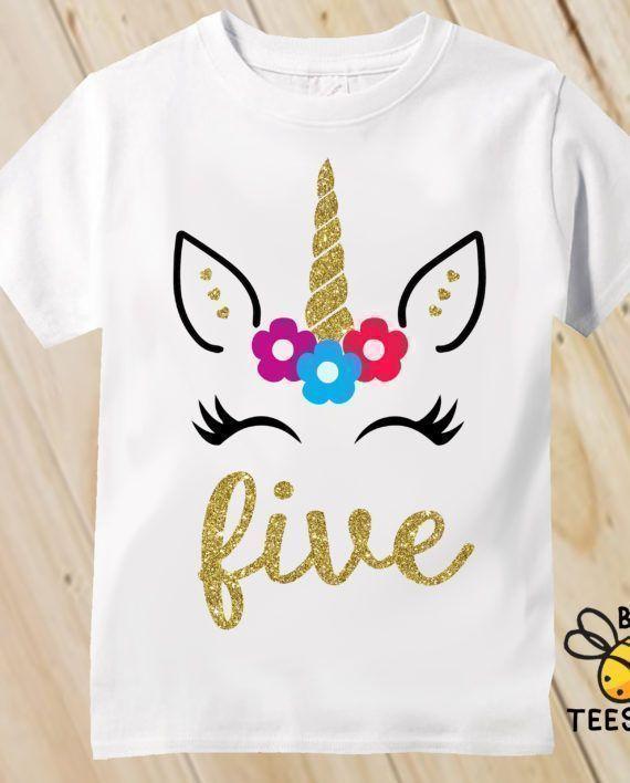 Girl S Gold Unicorn Birthday Shirt Birthday Girl Personalized