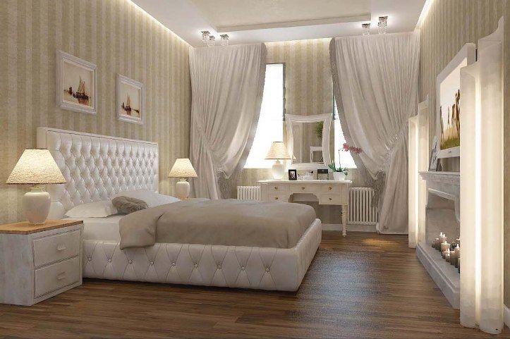 Бежево-белая спальня в классическом стиле