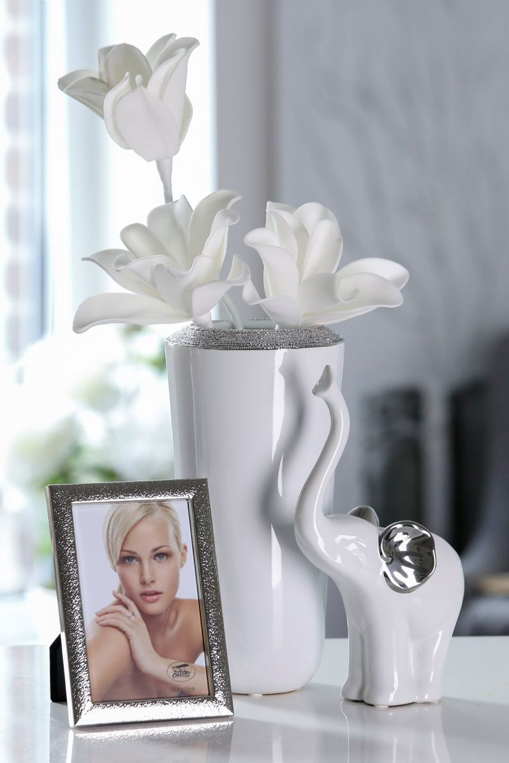 home decoration, white silver decoration