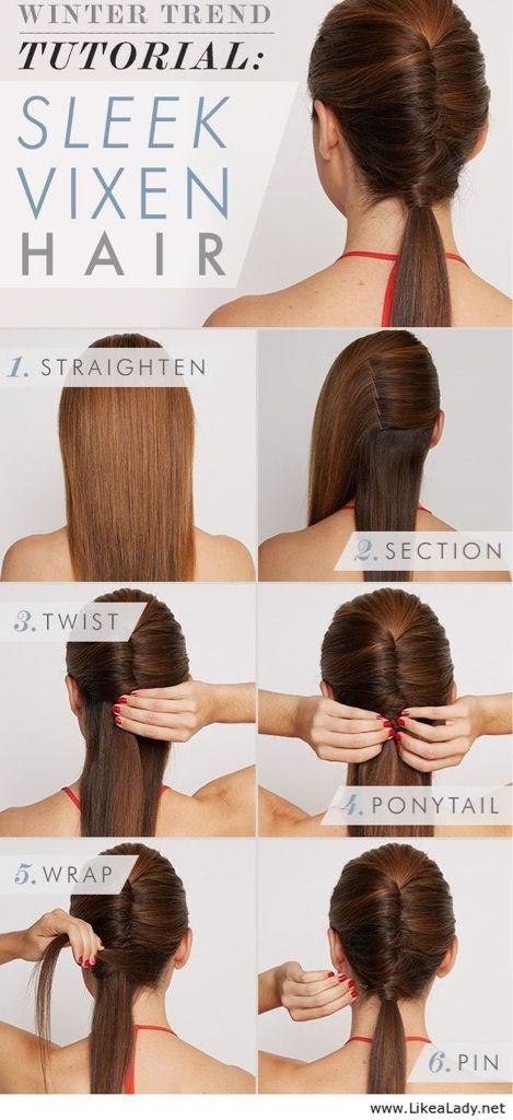 Sleek Vixen hair. I imagine this would go to work nicely. Making long hair look professional is tough!
