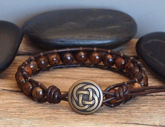 Mens Beaded Leather Bracelet Mens Brown Gemstone Bracelet