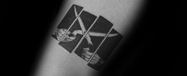 50 Black Flag Tattoo Designs For Men – Rock Band Ink Ideas #Men_s_Style_And_Fashion