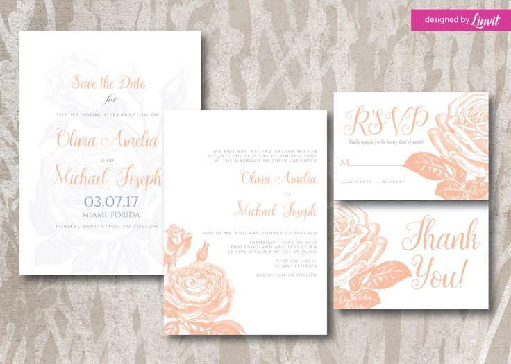 Floral Wedding Invitation-Digital wedding invitation-Printable wedding invitation set-Custom wedding invitation-vintage rose wedding invite by Linvit on Etsy