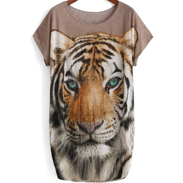 Camel Short Sleeve Tiger Print Rhinestone T-Shirt (14 CAD) ❤ liked on Polyvore featuring tops, t-shirts, camel, stretch t shirt, round neck t shirt, rhinestone tops, tiger stripe t shirt e embellished t shirts