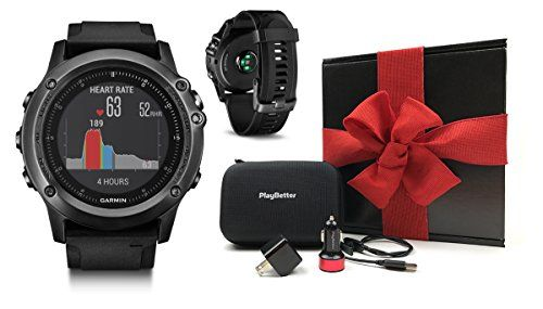 Garmin fenix 3 HR Gift Box Bundle  Includes MultiSport GPS Fitness Watch OnWrist HR PlayBetter USB Car  Wall Adapter  Hard GPS Case  Black Gift Box with Red Bow  Crinkle Paper * You can get more details by clicking on the image.