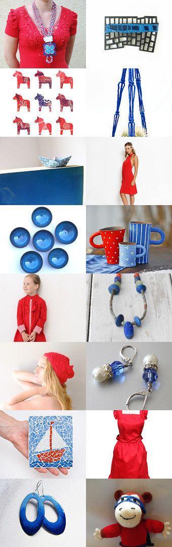 Red and Blue by Marlena Rakoczy on Etsy--Pinned with TreasuryPin.com