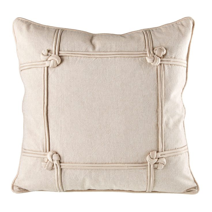 Chambray Linen Knotted Cushion Cover 20 x 20