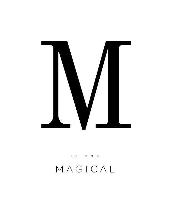 LETTER M POSTER, letter m print, magical, alphabet poster, printable wall art, black and white, mini